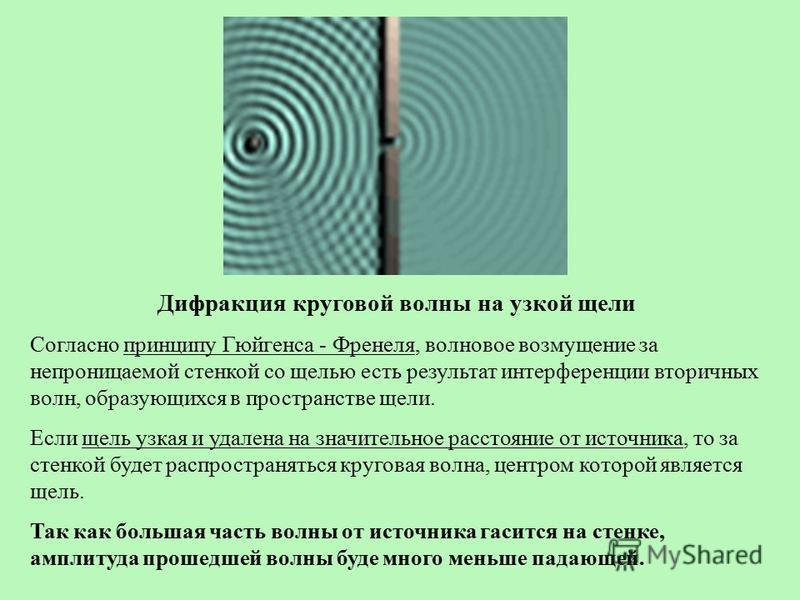 Дифракция круговой волны на узкой щели Согласно принципу Гюйгенса - Френеля, волновое возмущение за непроницаемой стенкой со щелью есть результат интерференции вторичных волн, образующихся в пространстве щели. Если щель узкая и удалена на значительно