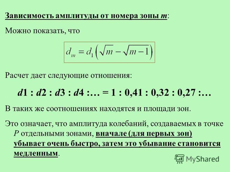 Зависимость амплитуды от номера зоны m: Можно показать, что Расчет дает следующие отношения: d1 : d2 : d3 : d4 :… = 1 : 0,41 : 0,32 : 0,27 :… В таких же соотношениях находятся и площади зон. Это означает, что амплитуда колебаний, создаваемых в точке