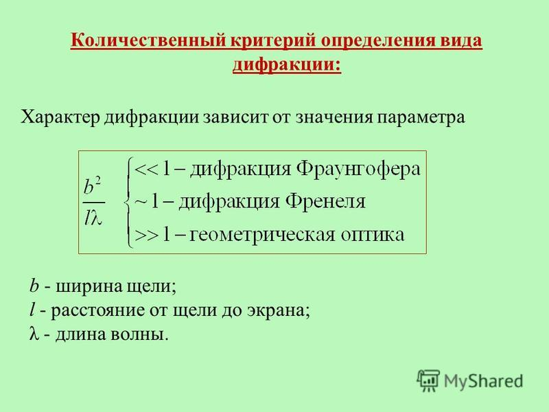 Количественный критерий определения вида дифракции: Характер дифракции зависит от значения параметра b - ширина щели; l - расстояние от щели до экрана; λ - длина волны.