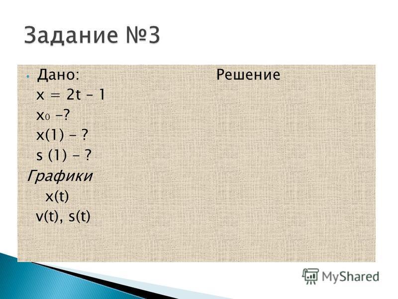 Дано: Решение х = 2t – 1 х 0 -? х(1) - ? s (1) - ? Графики x(t) v(t), s(t)
