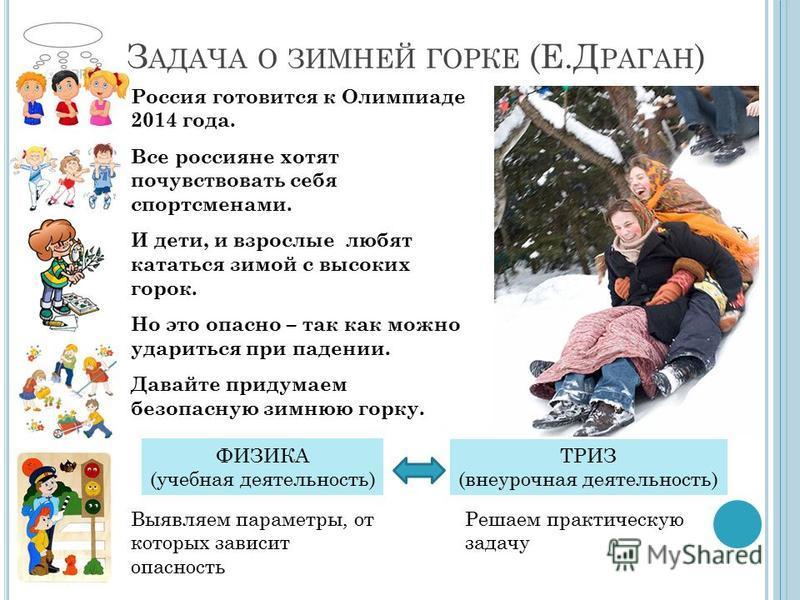 З АДАЧА О ЗИМНЕЙ ГОРКЕ (Е.Д РАГАН ) Россия готовится к Олимпиаде 2014 года. Все россияне хотят почувствовать себя спортсменами. И дети, и взрослые любят кататься зимой с высоких горок. Но это опасно – так как можно удариться при падении. Давайте прид
