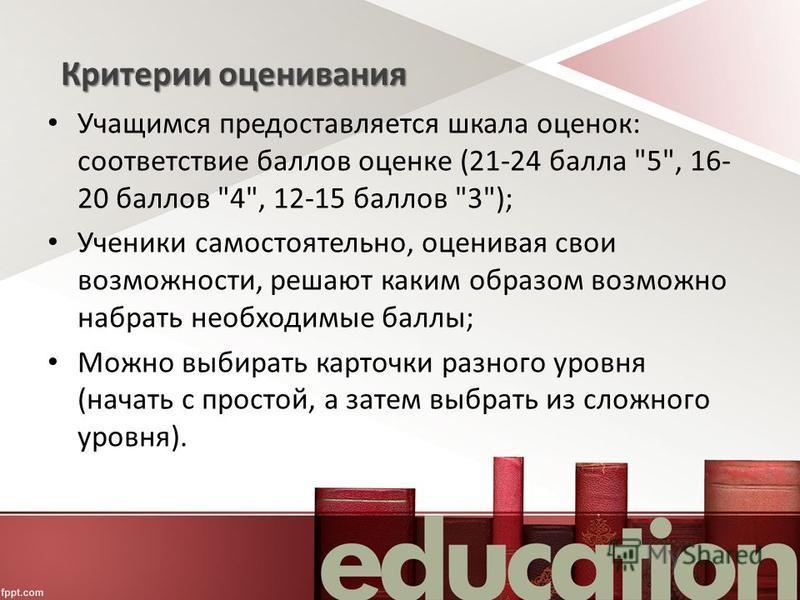Критерии оценивания Учащимся предоставляется шкала оценок: соответствие баллов оценке (21-24 балла