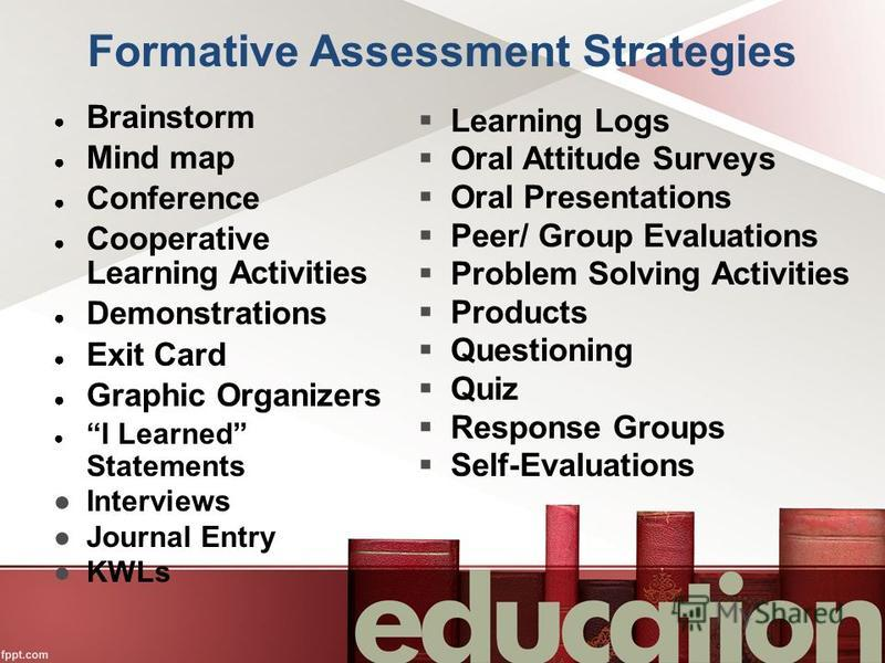 Formative Assessment Strategies Brainstorm Mind map Conference Cooperative Learning Activities Demonstrations Exit Card Graphic Organizers I Learned Statements Interviews Journal Entry KWLs Learning Logs Oral Attitude Surveys Oral Presentations Peer/