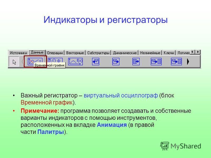 Индикаторы и регистраторы Важный регистратор – виртуальный осциллограф (блок Временной график). Примечание: программа позволяет создавать и собственные варианты индикаторов с помощью инструментов, расположенных на вкладке Анимация (в правой части Пал