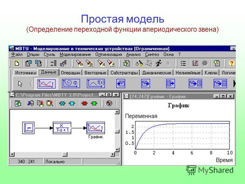 Простая модель (Определение переходной функции апериодического звена)