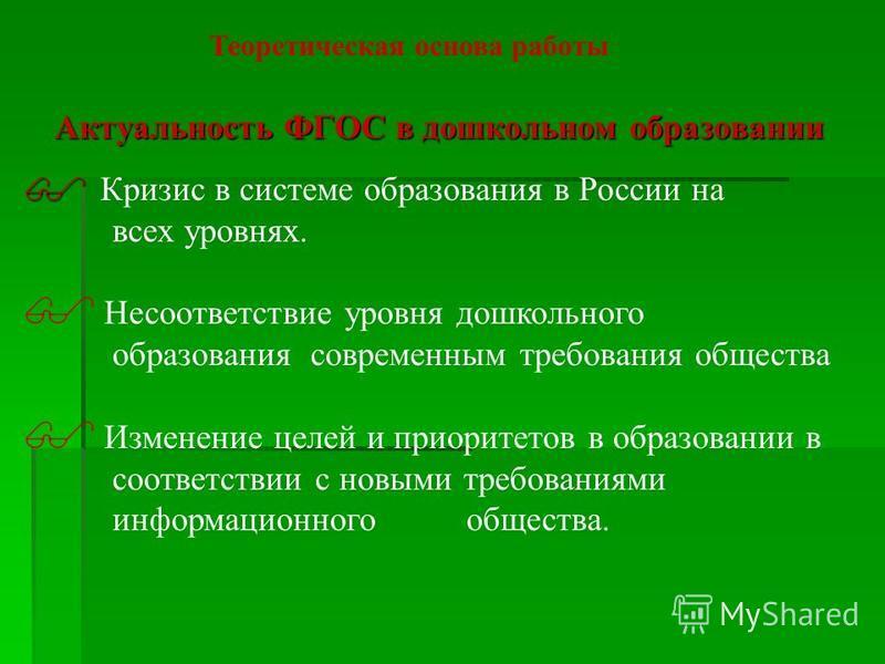 Актуальность ФГОС в дошкольном образовании Кризис в системе образования в России на всех уровнях. Несоответствие уровня дошкольного образования современным требования общества Изменение целей и приоритетов в образовании в соответствии с новыми требов