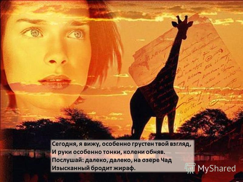 Сегодня, я вижу, особенно грустен твой взгляд, И руки особенно тонки, колени обняв. Послушай: далеко, далеко, на озере Чад Изысканный бродит жираф.