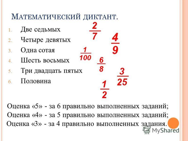 М АТЕМАТИЧЕСКИЙ ДИКТАНТ. 1. Две седьмых 2. Четыре девятых 3. Одна сотая 4. Шесть восьмых 5. Три двадцать пятых 6. Половина Оценка «5» - за 6 правильно выполненных заданий; Оценка «4» - за 5 правильно выполненных заданий; Оценка «3» - за 4 правильно в