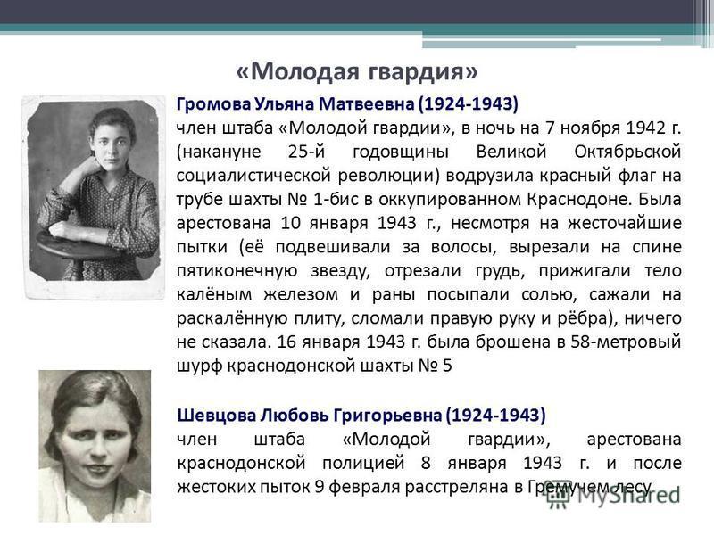 Шевцова Любовь Григорьевна (1924-1943) член штаба «Молодой гвардии», арестована краснодонской полицией 8 января 1943 г. и после жестоких пыток 9 февраля расстреляна в Гремучем лесу Громова Ульяна Матвеевна (1924-1943) член штаба «Молодой гвардии», в