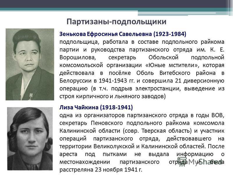 Лиза Чайкина (1918-1941) одна из организаторов партизанского отряда в годы ВОВ, секретарь Пеновского подпольного райкома комсомола Калининской области (совр. Тверская область) и участник операций партизанского отряда, действовавшего на территории Вел