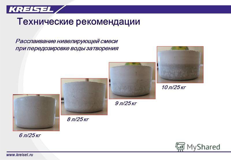 Технические рекомендации 6 л/25 кг 8 л/25 кг 9 л/25 кг 10 л/25 кг Расслаивание нивелирующей смеси при передозировке воды затворения