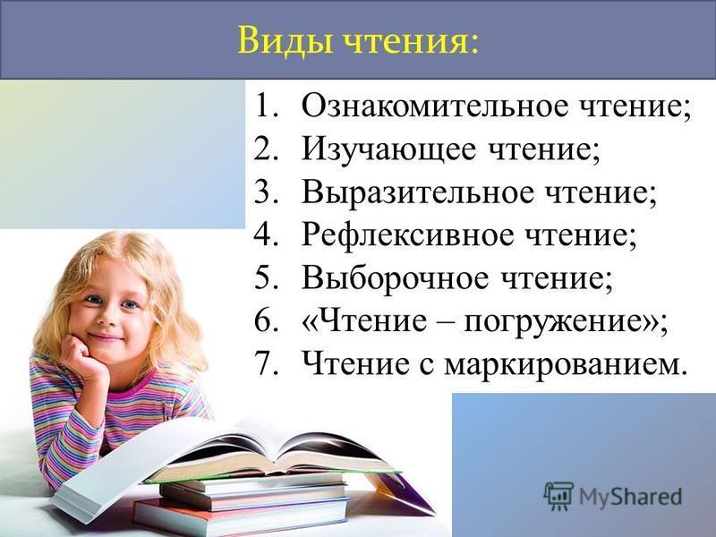 1. Ознакомительное чтение; 2. Изучающее чтение; 3. Выразительное чтение; 4. Рефлексивное чтение; 5. Выборочное чтение; 6.«Чтение – погружение»; 7. Чтение с маркированием. Виды чтения:
