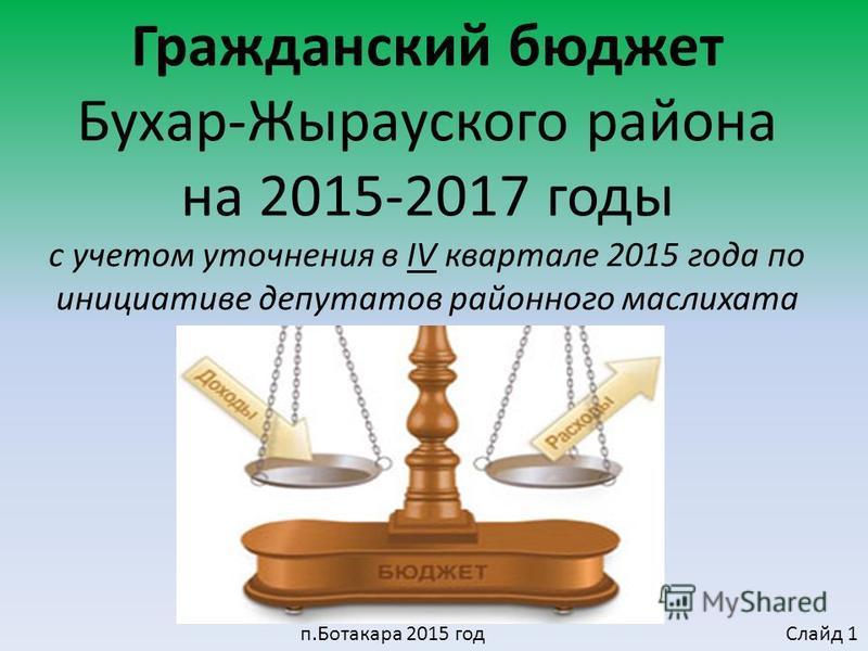 Гражданский бюджет Бухар-Жырауского района на 2015-2017 годы с учетом уточнения в IV квартале 2015 года по инициативе депутатов районного маслихата п.Ботакара 2015 год Слайд 1