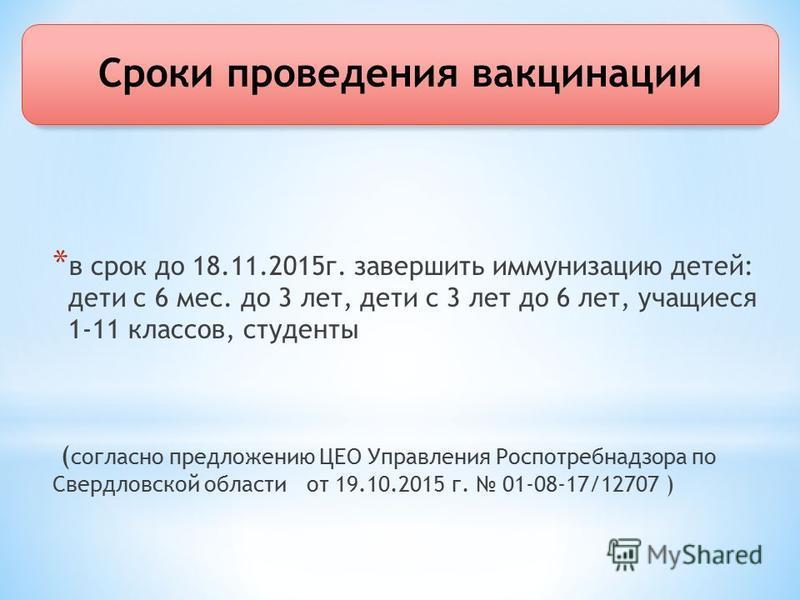 Сроки проведения вакцинации * в срок до 18.11.2015 г. завершить иммунизацию детей: дети с 6 мес. до 3 лет, дети с 3 лет до 6 лет, учащиеся 1-11 классов, студенты ( согласно предложению ЦЕО Управления Роспотребнадзора по Свердловской области от 19.10.