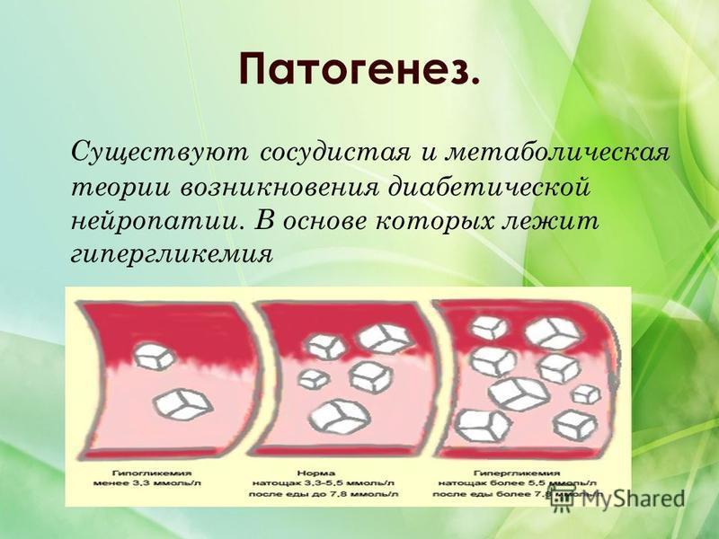Патогенез. Существуют сосудистая и метаболическая теории возникновения диабетической нейропатии. В основе которых лежит гипергликемия