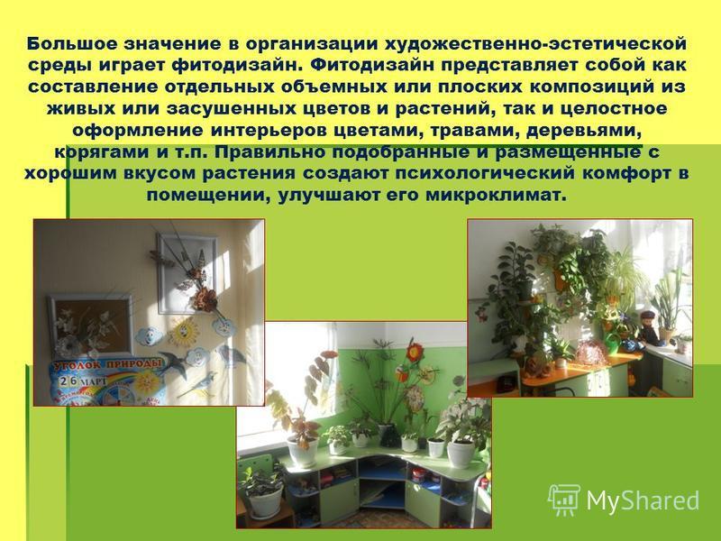 Большое значение в организации художественно-эстетической среды играет фитодизайн. Фитодизайн представляет собой как составление отдельных объемных или плоских композиций из живых или засушенных цветов и растений, так и целостное оформление интерьеро
