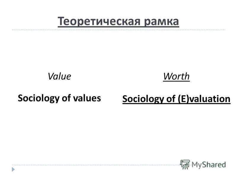Теоретическая рамка Worth Sociology of (E)valuation Value Sociology of values