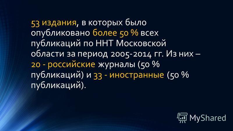 53 издания, в которых было опубликовано более 50 % всех публикаций по ННТ Московской области за период 2005-2014 гг. Из них – 20 - российские журналы (50 % публикаций) и 33 - иностранные (50 % публикаций).