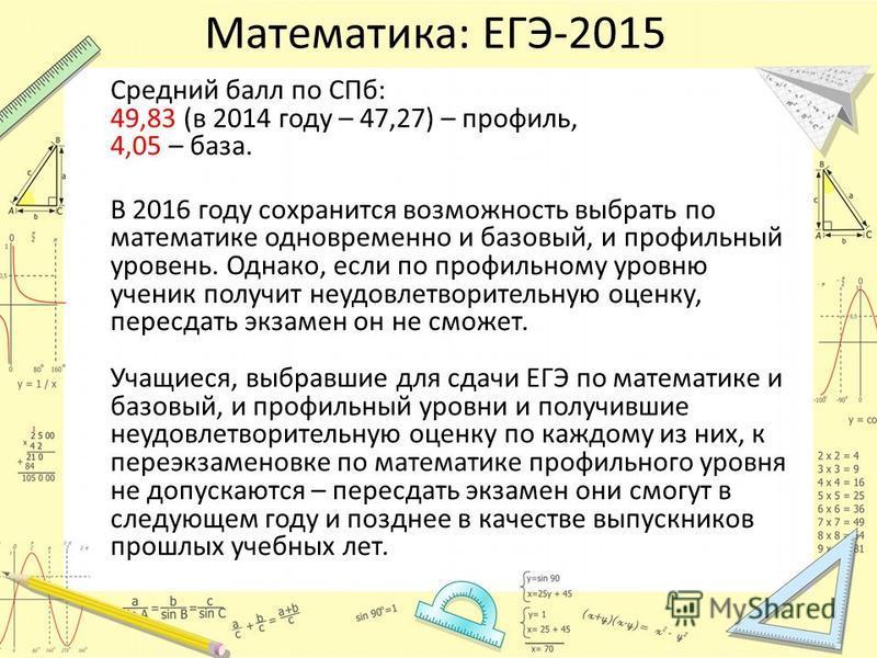 Математика: ЕГЭ-2015 Средний балл по СПб: 49,83 (в 2014 году – 47,27) – профиль, 4,05 – база. В 2016 году сохранится возможность выбрать по математике одновременно и базовый, и профильный уровень. Однако, если по профильному уровню ученик получит неу