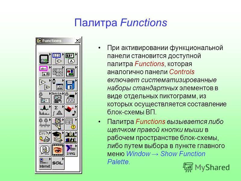 Палитра Functions При активировании функциональной панели становится доступной палитра Functions, которая аналогично панели Controls включает систематизированные наборы стандартных элементов в виде отдельных пиктограмм, из которых осуществляется сост