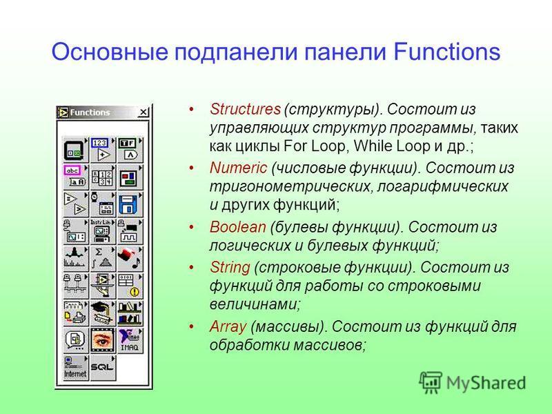 Основные под панели панели Functions Structures (структуры). Состоит из управляющих структур программы, таких как циклы For Loop, While Loop и др.; Numeric (числовые функции). Состоит из тригонометрических, логарифмических и других функций; Boolean (