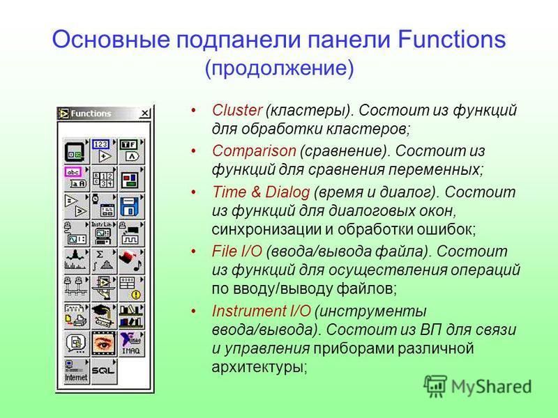 Основные под панели панели Functions (продолжение) Cluster (кластеры). Состоит из функций для обработки кластеров; Comparison (сравнение). Состоит из функций для сравнения переменных; Time & Dialog (время и диалог). Состоит из функций для диалоговых