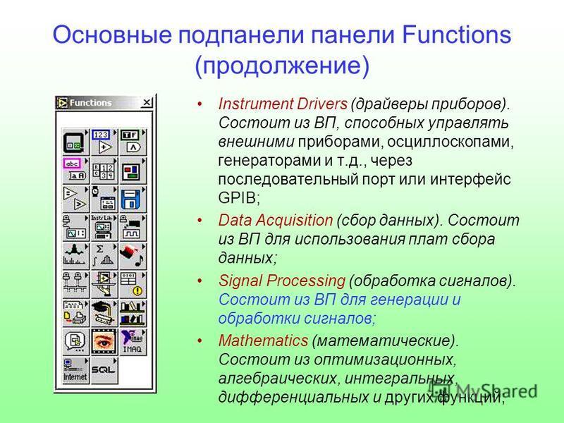 Основные под панели панели Functions (продолжение) Instrument Drivers (драйверы приборов). Состоит из ВП, способных управлять внешними приборами, осциллоскопами, генераторами и т.д., через последовательный порт или интерфейс GPIB; Data Acquisition (с
