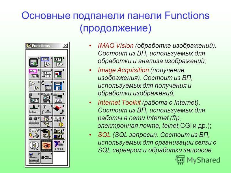 Основные под панели панели Functions (продолжение) IMAQ Vision (обработка изображений). Состоит из ВП, используемых для обработки и анализа изображений; Image Acquisition (получение изображения). Состоит из ВП, используемых для получения и обработки