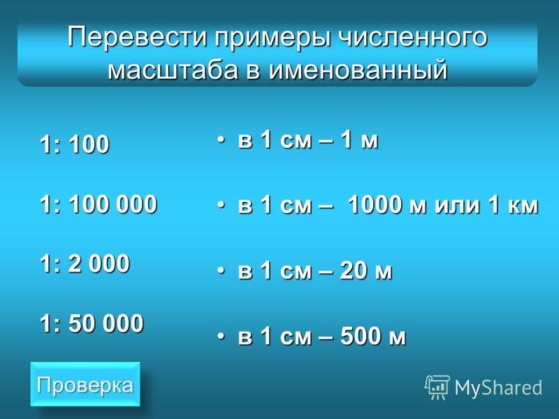 Перевести примеры численного масштаба в именованный 1: 100 1: 100 000 1: 2 000 1: 50 000 в 1 см – 1 мв 1 см – 1 м в 1 см – 1000 м или 1 кмв 1 см – 1000 м или 1 км в 1 см – 20 мв 1 см – 20 м в 1 см – 500 мв 1 см – 500 м Проверка