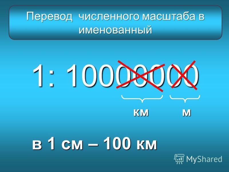 1: 10000000 мкм в 1 см – 100 км Перевод численного масштаба в именованный
