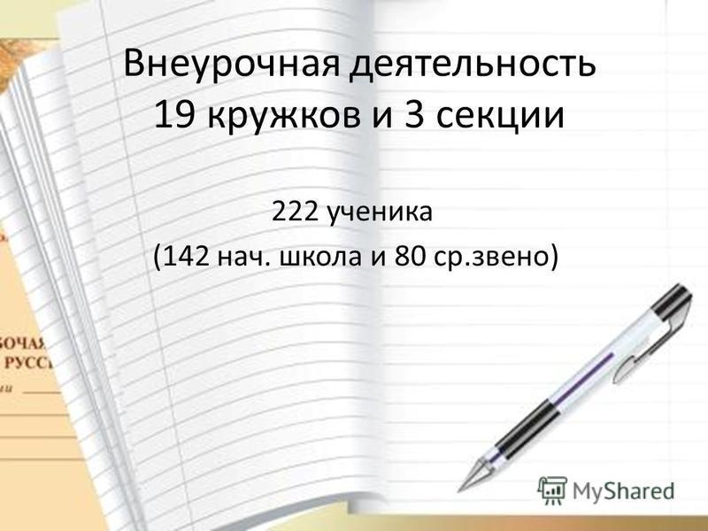 Внеурочная деятельность 19 кружков и 3 секции 222 ученика (142 нач. школа и 80 ср.звено)