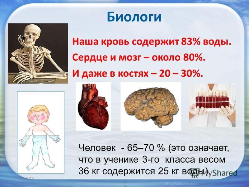 27.11.20151 Наша кровь содержит 83% воды. Сердце и мозг – около 80%. И даже в костях – 20 – 30%. Человек - 65–70 % (это означает, что в ученике 3-го класса весом 36 кг содержится 25 кг воды). Биологи