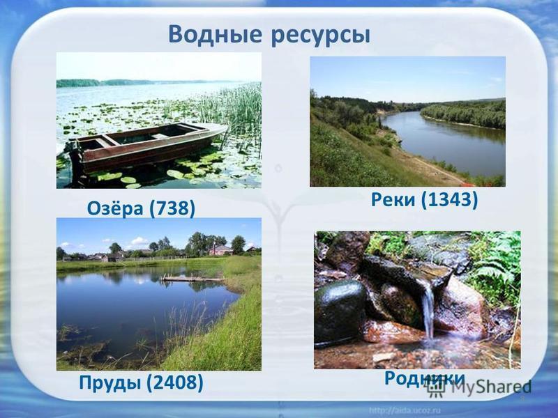 8 Водные ресурсы Озёра (738) Реки (1343) Пруды (2408) Родники