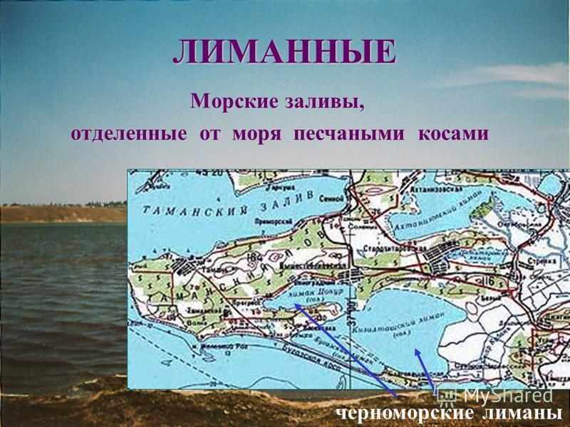 ЛИМАННЫЕ Морские заливы, отделенные от моря песчаными косами черноморские лиманы