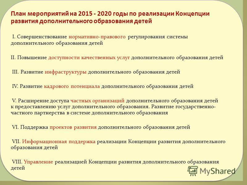 План мероприятий на 2015 - 2020 годы по реализации Концепции развития дополнительного образования детей I. Совершенствование нормативно-правового регулирования системы дополнительного образования детей II. Повышение доступности качественных услуг доп