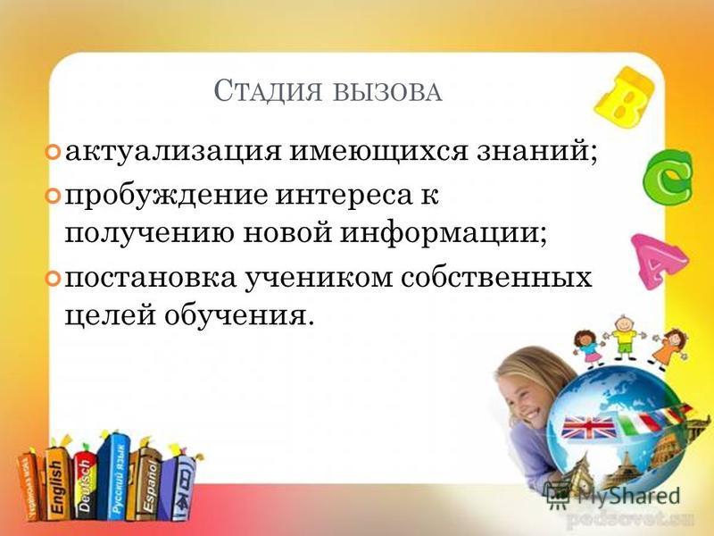 С ТАДИЯ ВЫЗОВА актуализация имеющихся знаний; пробуждение интереса к получению новой информации; постановка учеником собственных целей обучения.