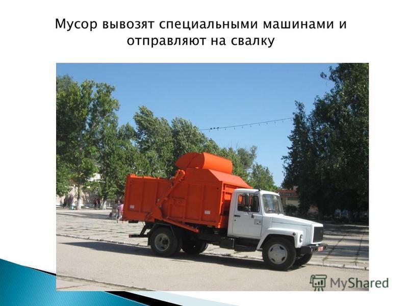 Мусор вывозят специальными машинами и отправляют на свалку