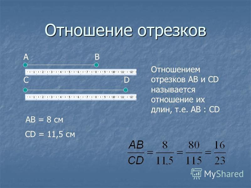 Отношение отрезков Отношением отрезков АВ и СD называется отношение их длин, т.е. АВ : CD АВ СD АВ = 8 см СD = 11,5 см