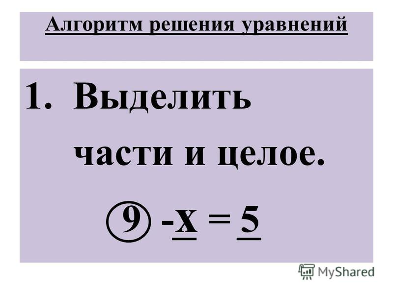 Уравнения с неизвестным вычитаемым ФОРМУЛА а - х = б х= а – б