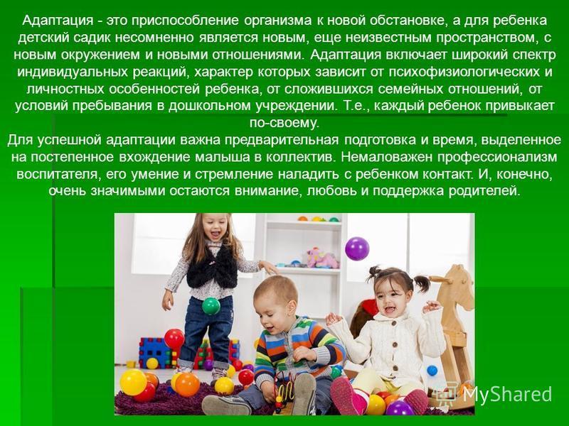 Адаптация - это приспособление организма к новой обстановке, а для ребенка детский садик несомненно является новым, еще неизвестным пространством, с новым окружением и новыми отношениями. Адаптация включает широкий спектр индивидуальных реакций, хара