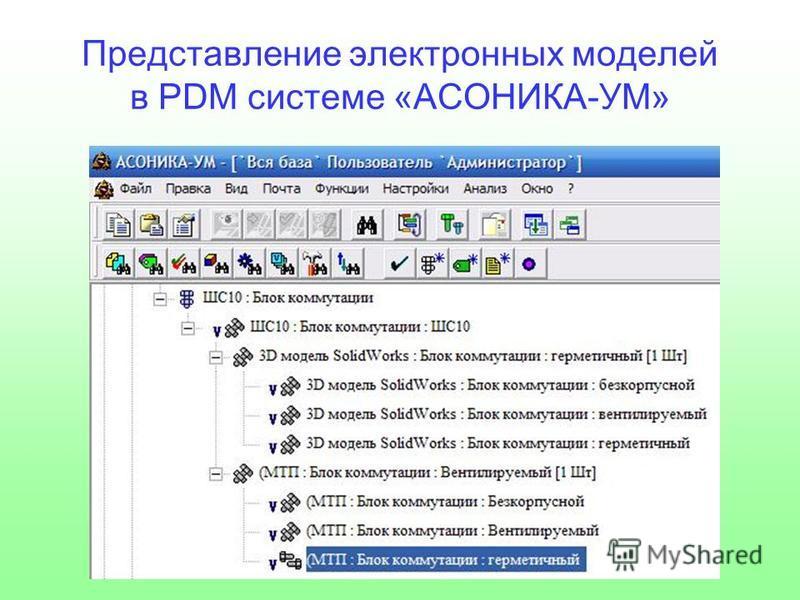 Представление электронных моделей в PDM системе «АСОНИКА-УМ»