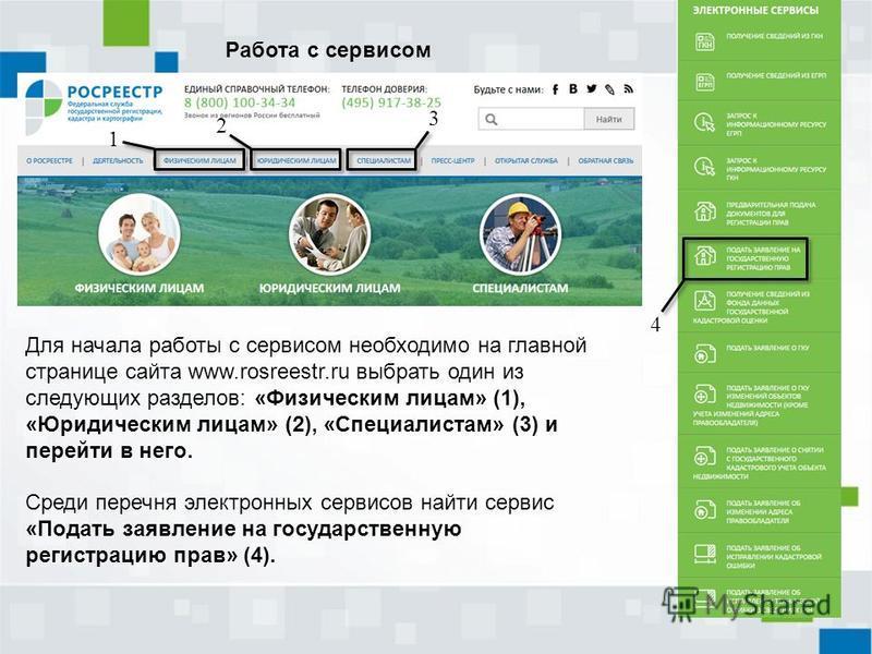 Для начала работы с сервисом необходимо на главной странице сайта www.rosreestr.ru выбрать один из следующих разделов: «Физическим лицам» (1), «Юридическим лицам» (2), «Специалистам» (3) и перейти в него. Среди перечня электронных сервисов найти серв