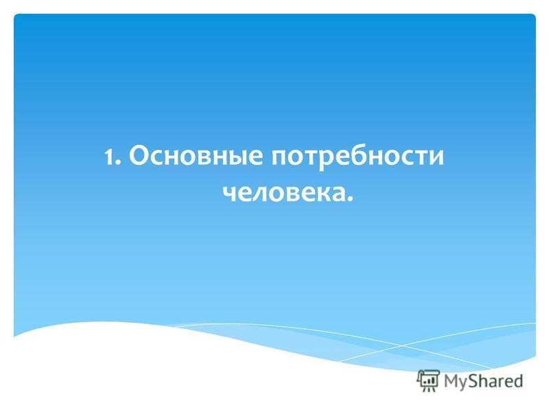 1. Основные потребности человека.