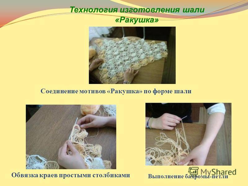 Соединение мотивов «Ракушка» по форме шали Обвязка краев простыми столбиками Выполнение бахромы-петли Технология изготовления шали «Ракушка»