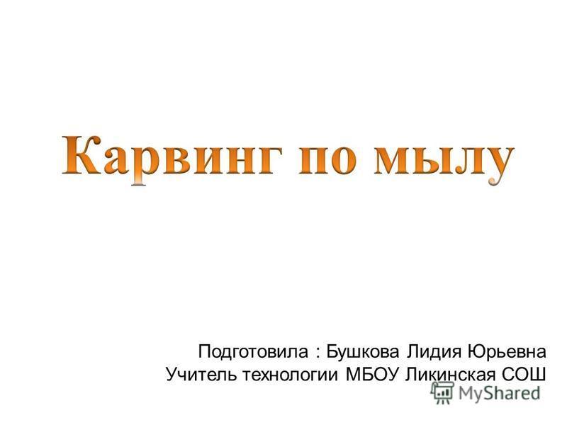 Подготовила : Бушкова Лидия Юрьевна Учитель технологии МБОУ Ликинская СОШ