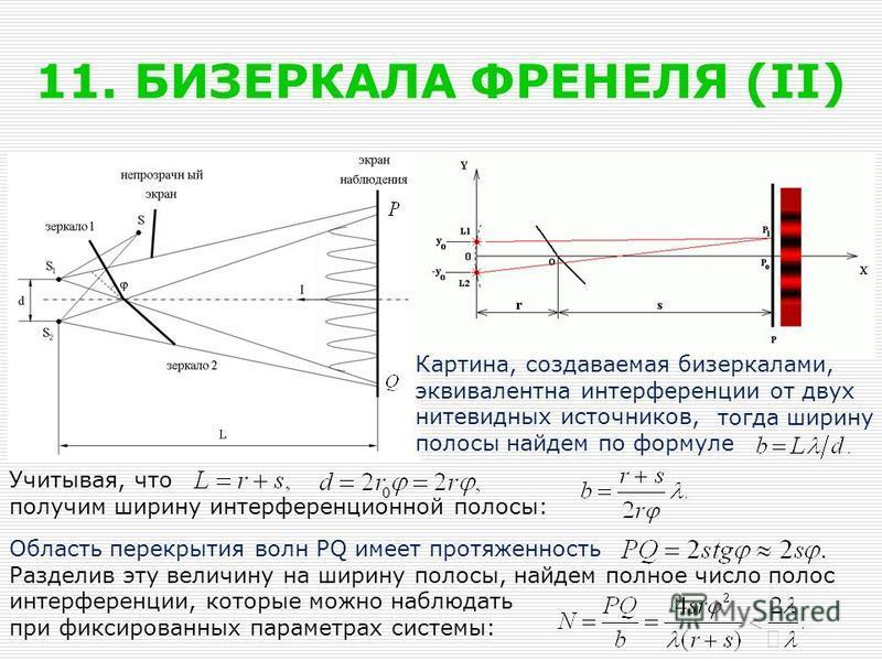 11. БИЗЕРКАЛА ФРЕНЕЛЯ (II) Картина, создаваемая бизеркалами, эквивалентна интерференции от двух нитевидных источников, полосы найдем по формуле Учитывая, что получим ширину интерференционной полосы: Область перекрытия волн PQ имеет протяженность Разд