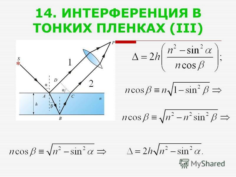 14. ИНТЕРФЕРЕНЦИЯ В ТОНКИХ ПЛЕНКАХ (III)