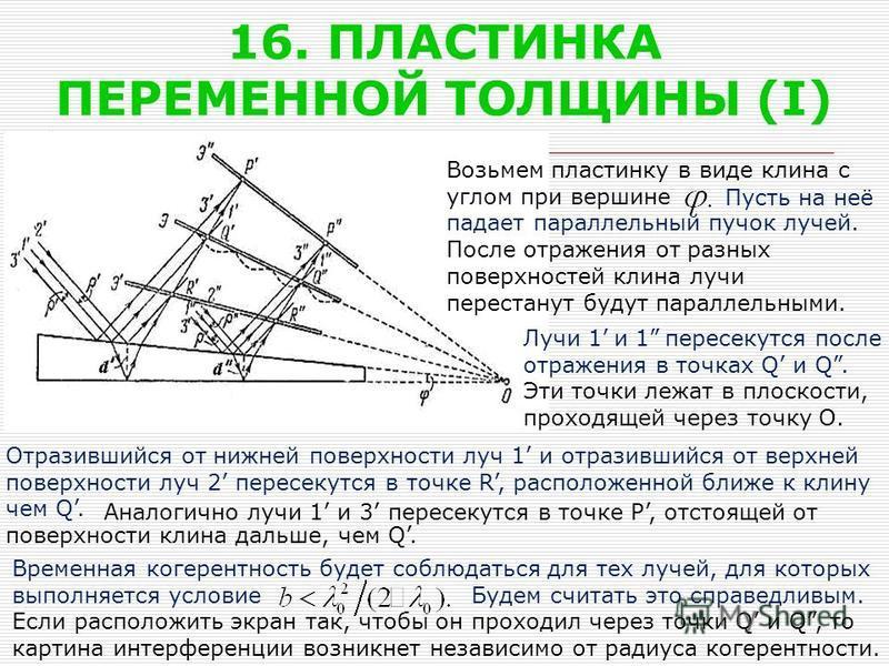 16. ПЛАСТИНКА ПЕРЕМЕННОЙ ТОЛЩИНЫ (I) Возьмем пластинку в виде клина с углом при вершине падает параллельный пучок лучей. После отражения от разных поверхностей клина лучи перестанут будут параллельными. Лучи 1 и 1 пересекутся после отражения в точках