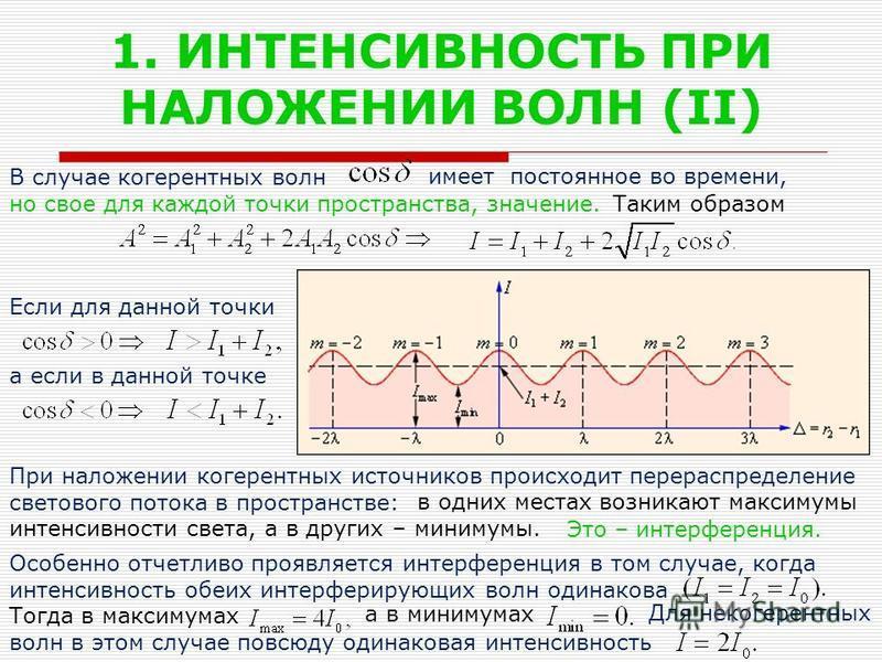 1. ИНТЕНСИВНОСТЬ ПРИ НАЛОЖЕНИИ ВОЛН (II) В случае когерентных волн но свое для каждой точки пространства, значение. Если для данной точки а если в данной точке При наложении когерентных источников происходит перераспределение светового потока в прост