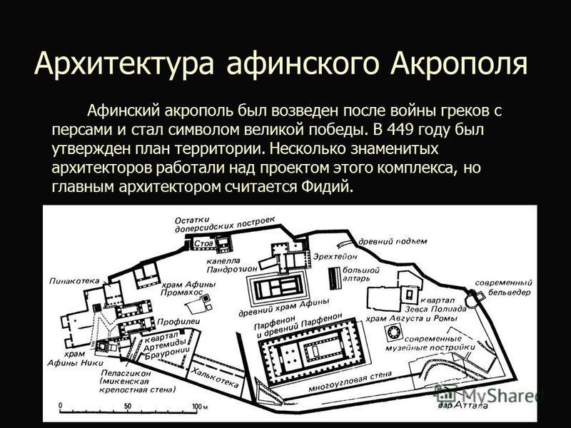 Архитектура афинского Акрополя Афинский акрополь был возведен после войны греков с персами и стал символом великой победы. В 449 году был утвержден план территории. Несколько знаменитых архитекторов работали над проектом этого комплекса, но главным а